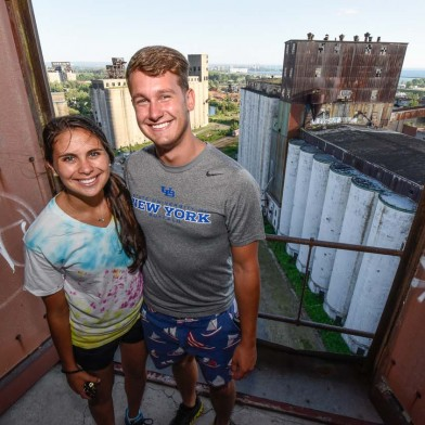 Couple at silo city vertical