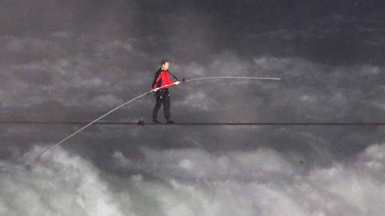 Nik Wallenda walking over the Falls on a wire