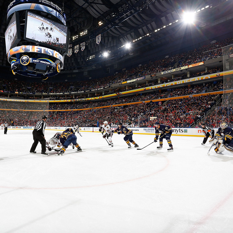 BUFFALO, NY - MARCH 09:  A general view as the Buffalo Sabres and the Chicago Blackhawks play on March 9, 2014 at the First Niagara Center in Buffalo, New York.  (Photo by Bill Wippert/NHLI via Getty Images)