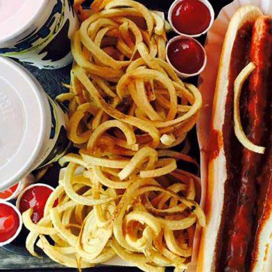 Hot dogs and fries at Taffys