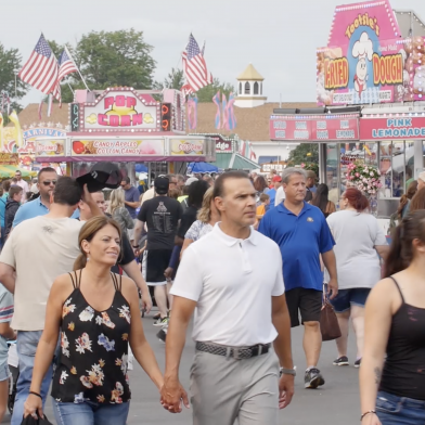 A crowd at the Erie County Fair