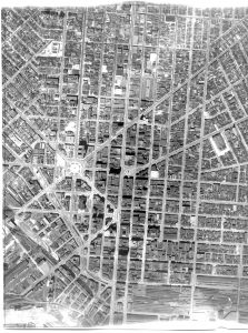 vintage aerial view of downtown Buffalo, NY