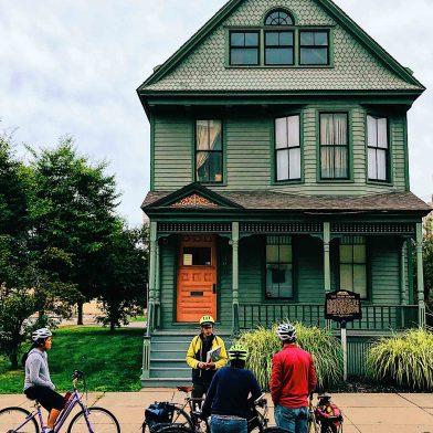 Bike tour outside of Nash House