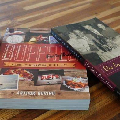 Coffee and two books about Buffalo, NY