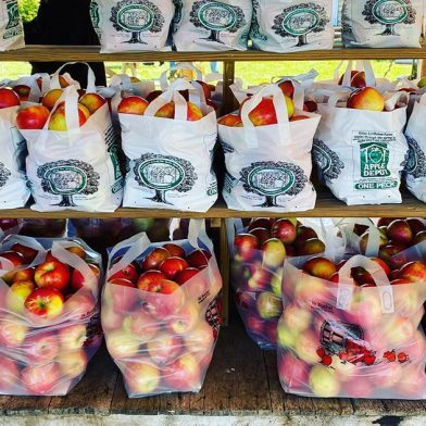 Bags of apples from lynoaken farms